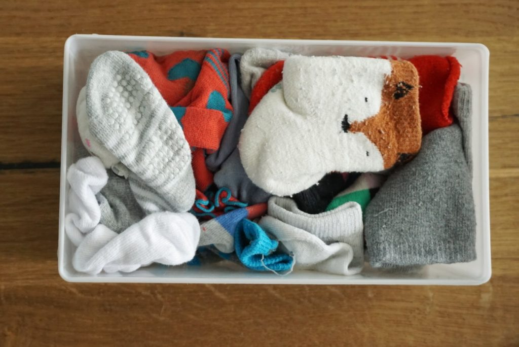 billendoekjes box gevuld met sokken