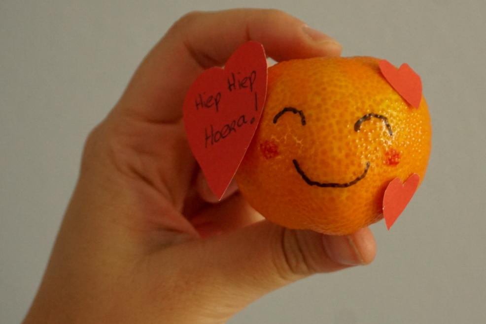 valentijns mandarijn-emoticon traktatie voor het kinderdagverblijf