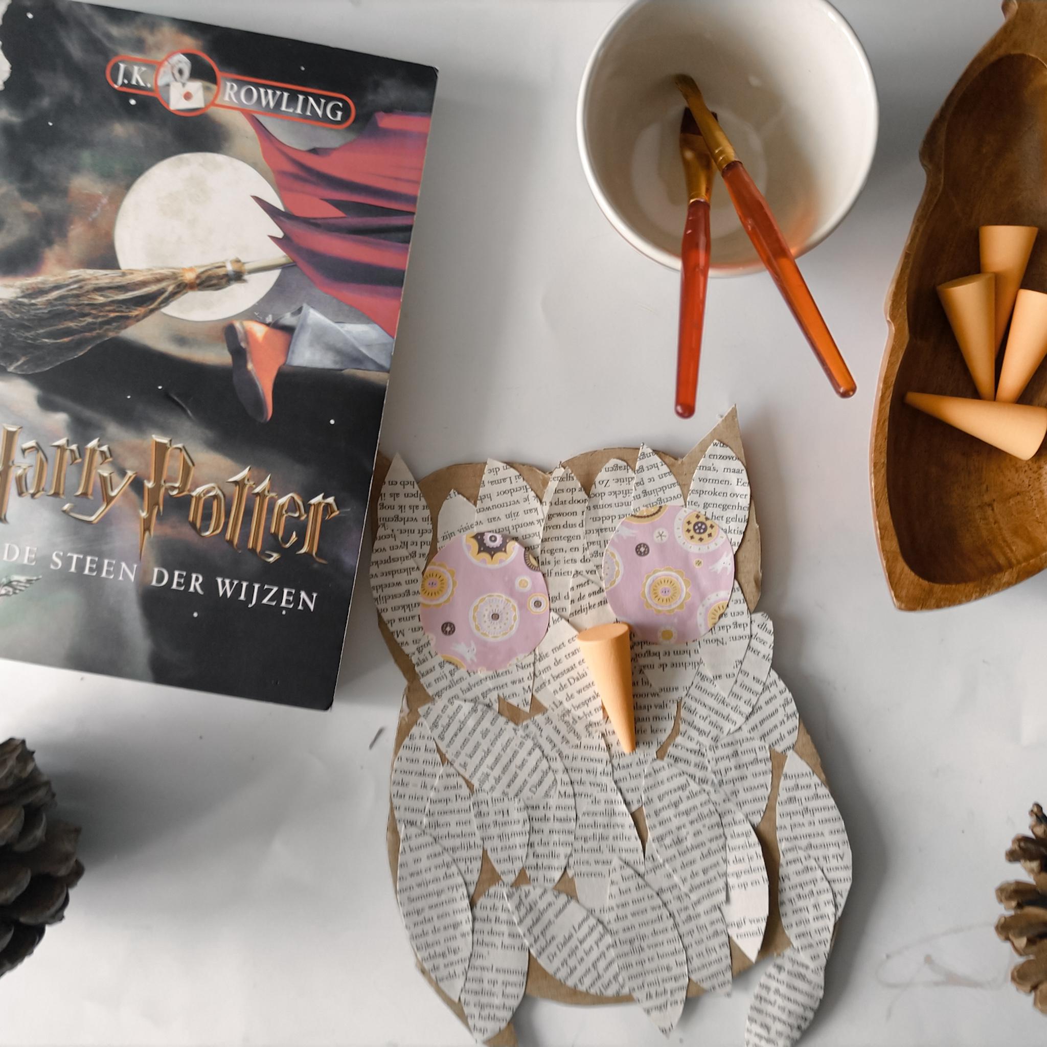 Een boekenuil van Harry Potter knutselen